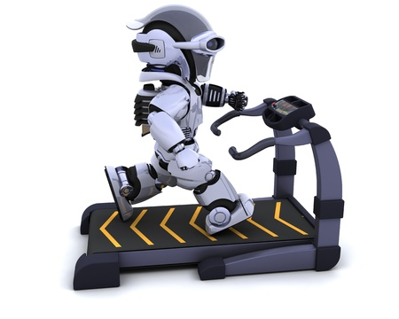 3D render of a robot on a treadmill Stock Photo - 8468555