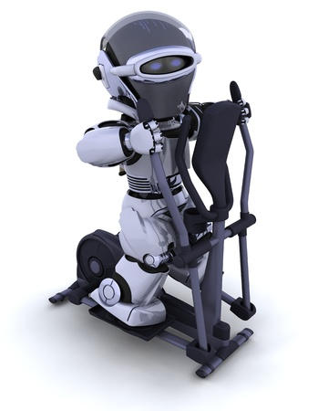 3D render of a robot on a crosstrainer photo