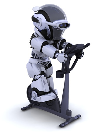 cardio exercise: 3D render of a robot on an exercise bike