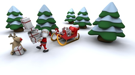 3d render of santa claus and gifts photo