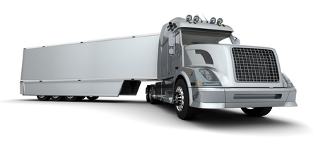 3D render of a silver American semi-truck photo