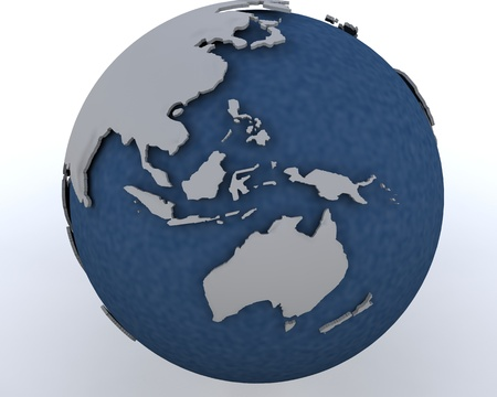 asia pacific: 3D render of a globe showing asia pacific region Stock Photo