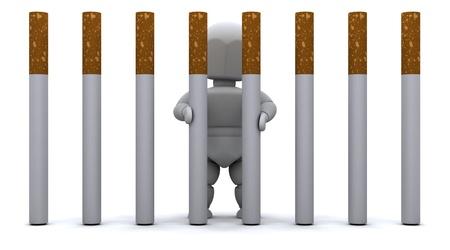 man smoking: 3D de procesamiento de un hombre en la c�rcel de cigarrillos