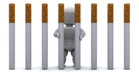quit: 3D render of a Man in Cigarette Prison Stock Photo