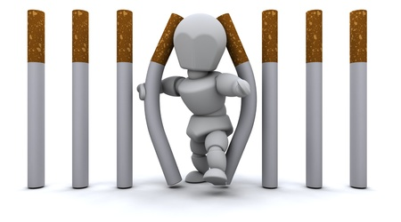 man smoking: 3D de procesamiento de un hombre escapar de la prisi�n de cigarrillos Foto de archivo