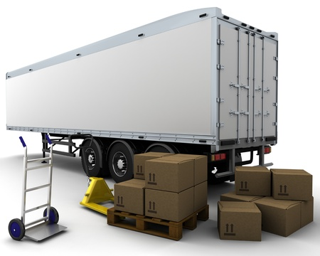 pallet truck: 3D render of freight trailer and shipping boxes