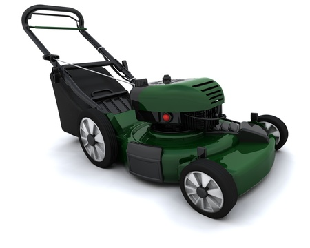tondeuse: 3D rendre un homme tondre la pelouse