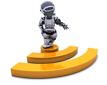 3D render of a Robot with RSS symbol photo