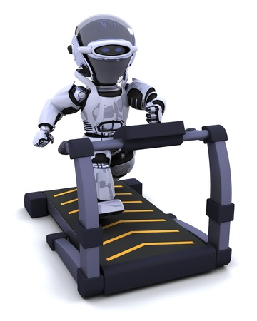 3D render of a robot on a treadmill photo