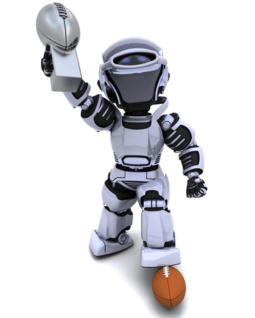 3D render of a Robot playing american football photo
