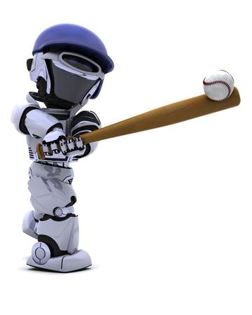 baseball swing: 3D render of a Robot playing baseball