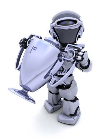 3D render of a Robot with a trophy photo