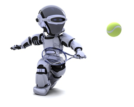 3D render of a Robot playing tennis Stock Photo - 8614028