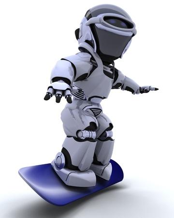 3d render: 3D render of a Robot with snowboard