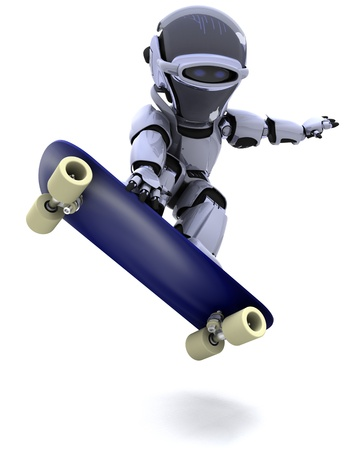 3D render of a Robot with skateboard photo