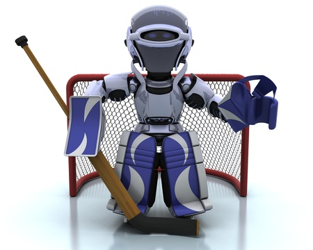 icehockey: 3D render of a Robot playing icehockey Stock Photo
