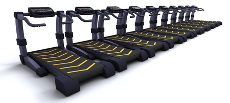 3D render of treadmills isolated on white photo
