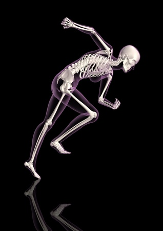 3D render of a medical female skeleton in a running pose photo