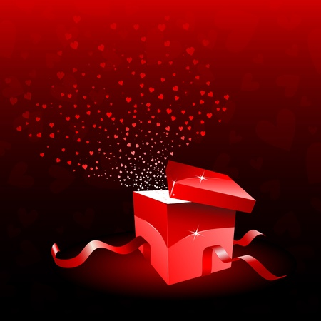 Open gift box with hearts bursting out of it Vector