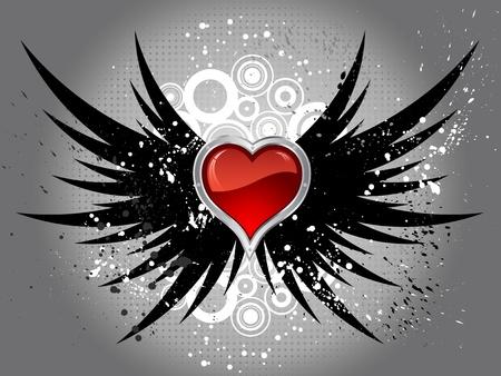 corazon con alas: Coraz�n rojo brillante en grunge alas de fondo