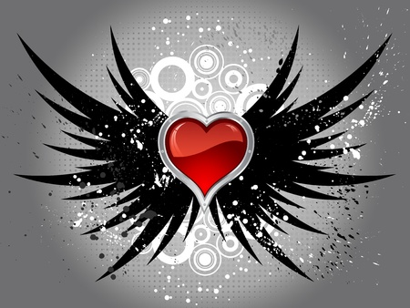 wings grunge: Glossy red heart on grunge wings background