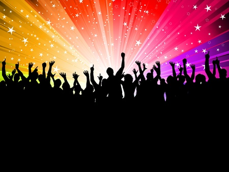Silhouette of a crowd of party people on a starburst background