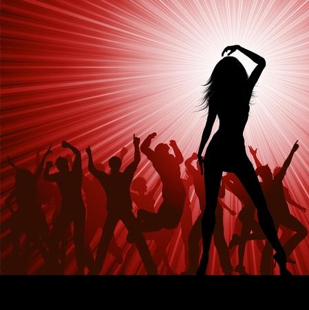 siluetas de mujeres: Silueta de una multitud de personas del partido sobre un fondo de brote estelar Vectores