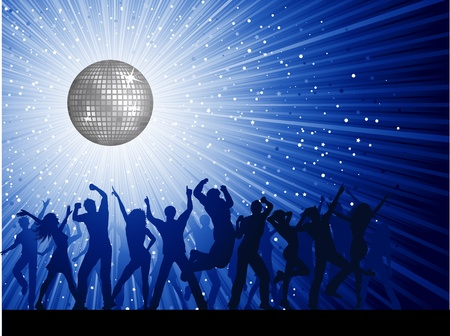 young people party: Silhouettes of party people on a mirror ball disco background Illustration