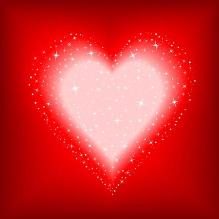 full day: Valentines Day background with a heart full of stars Illustration