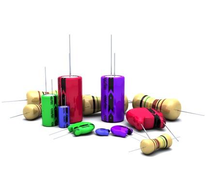capacitors: 3D Render of Capacitors Resistors and semi-conductors Stock Photo
