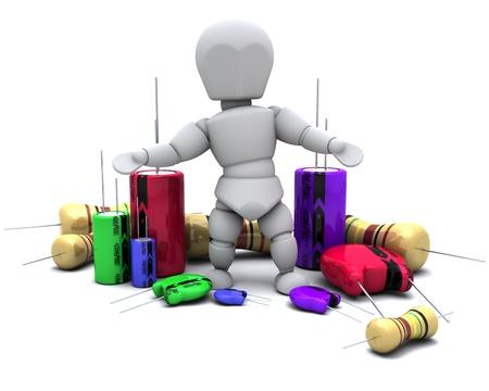 resistors: 3D Render of a Man With Capacitors Resistors and semi-conductors