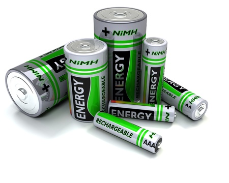 nimh: 3D render of Various sized NiMH Batteries