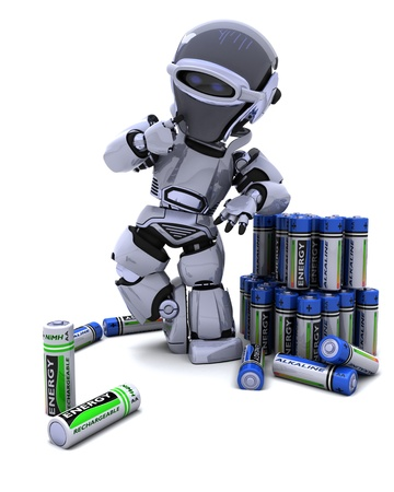 3D Render of A Robot with Batteries photo