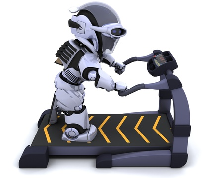 3D render of a robot on a treadmill Stock Photo - 8718139