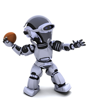 3D render of a Robot playing american football Stock Photo - 8718133