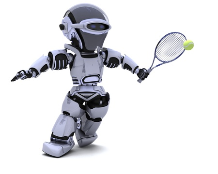 3D render of a Robot playing tennis photo