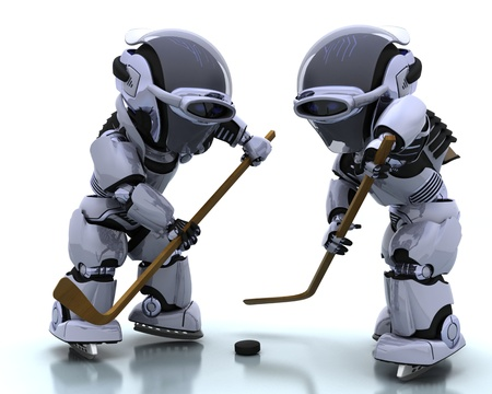 icehockey: 3D render of a Robots playing icehockey