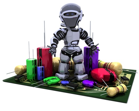 capacitor: 3D Render of a Robot With Capacitors Resistors and semi-conductors