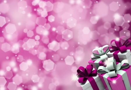 glittery: Valentines Day gifts on a glittery background