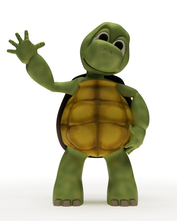 tortuga: Render 3D de una caricatura de tortuga agitando Foto de archivo