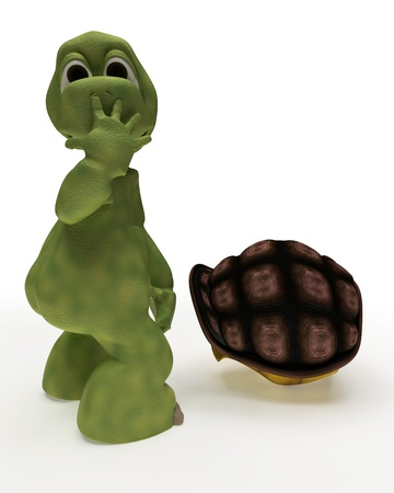 3d nude: 3D Render of a Tortoise Caricature Out of Their Shell Stock Photo