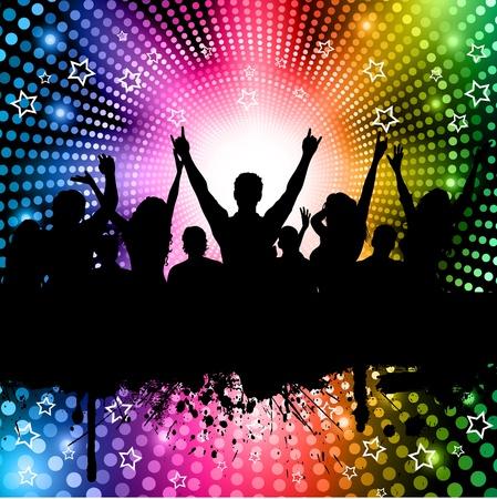 personas festejando: Silueta de una multitud de partido en un arco iris de color fondo de luces
