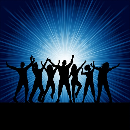 dancing man: Silhouettes of people dancing on a starburst background