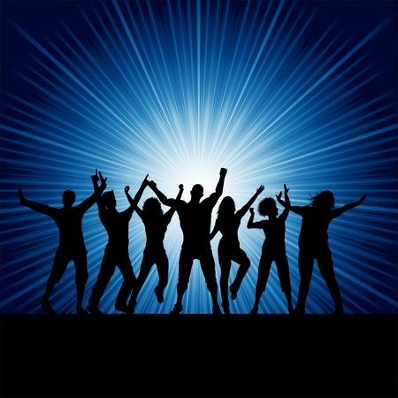 chicas bailando: Siluetas de personas bailando en un fondo de brote estelar Foto de archivo