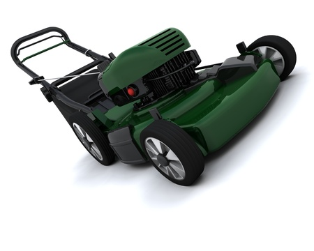 3D render of a man mowing the lawn photo