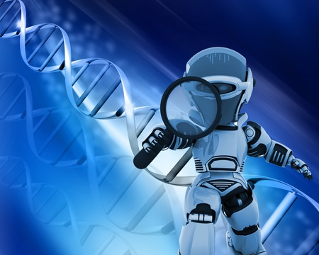 genetic: 3D render of a robot holding a magnifying glass on a DNA background