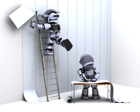 3D render of robot decorating with wallpaper photo