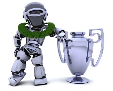 3D render of a Robot with a trophy Stock Photo - 8780917