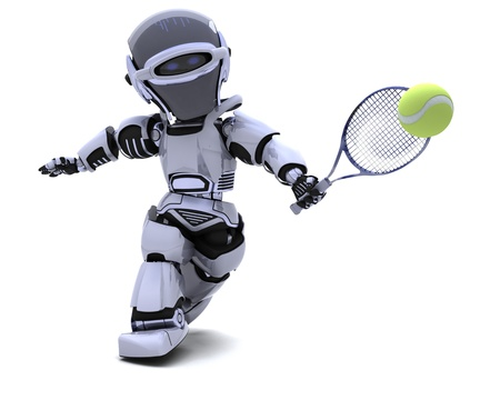 3D render of a Robot playing tennis Stock Photo - 8780905