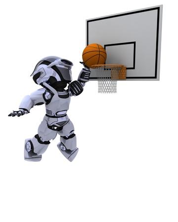 render: 3D render of a Robot playing basketball